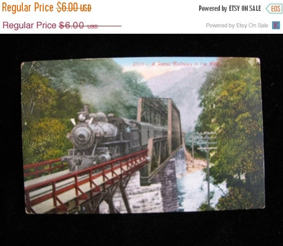 Valentine SALE antique Post Card 1913  Railroad In The West