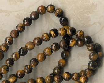 8mm Faceted Tiger Eye Round Stone, 7.5-inch Strand, 8mm Brown Tiger Eye, 8mm Topaz Stone, 8mm Brown Stone, Tiger Eye, Julie's Bead Store