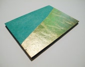 Boho Turquoise and Gold Guest Book Small: Gold Metal Leaf Romantic Wedding Guestbook