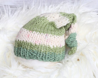 Knitted New Born Sleeping Hat, New Born Hat, Baby Boy Hat