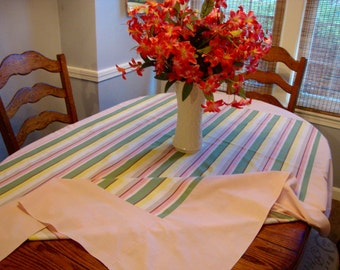 French Kitchen Tablecloth Pink and Green Striped Vintage Tablecloth
