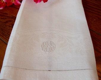 Linen Damask Towel Antique White Towel with Embroidered Monogram RKS Guest Towel
