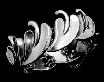 Vintage Antonio Pineda Taxco Mexico Mexican 970 Silver Heavy Leaf Bracelet 21505