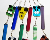 Handmade fused glass It's raining cat's and dogs wind chime