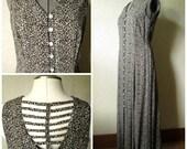 Maxi Dress boho gypsy clothing long sundress leopard print sleeveless open back cut out lattice summer beach resort women medium large