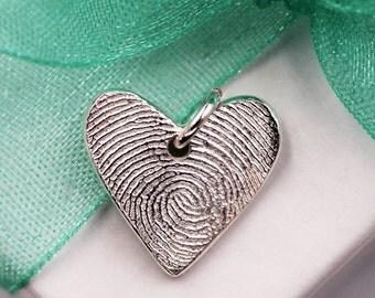 Fingerprint Charm Mini Heart Custom made keepsake of pure .999 Fine Silver for Charm Bracelet, Pendant, Necklace