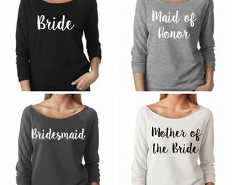Bridesmaid 3/4 sleeve Sweatshirt Bachelorette Party light weight Bride Wedding Party Gift Bachelorette