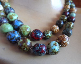 Necklace, 1960s, 1950s, earthy, double string.