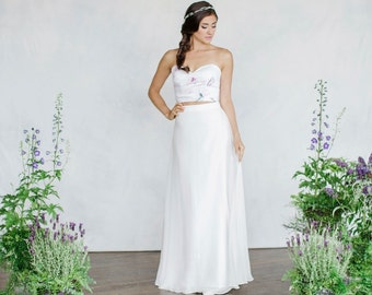 Bridal Separates, Bridal skirt, Print Bustier, Chiffon skirt, Wedding top, Wedding skirt, Modular pieces, Separates, Silk circle skirt