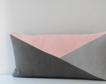 Lumbar Pillow Cover/Triangle/Rose Quartz/Dark Grey/Light Grey/Modern/Minimalistic/Stylish Accent Pillow/New Collection/Zigazag Studio Design