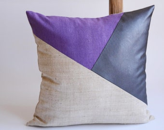 Modern Pillow/Natural/Royal Purple/Purple/Navy Blue Leather/Triangle/Custom Pillow/Handmade/Eclectic/ZigZag Studio Design