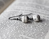 Poldark earrings, Ross and Demelza literary lovers book page bead earrings