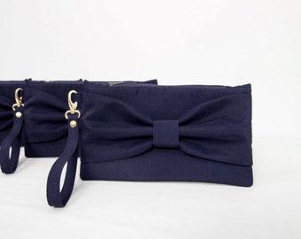 Casual Clutch wedding bridesmaid clutch navy bow wristlet clutch, Bridal clutch,Set of 1,2,3,4,5,6,7,8,9,10,11,12, piece 9,90 USD