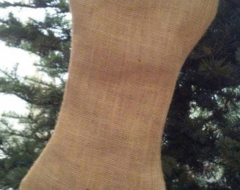 Dog Bone Burlap Stocking for Fur Baby - Fully Lined