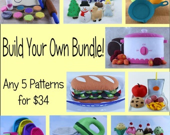 Felt Food Pattern Bundle, Build Your Own Bundle, Felt Food Tutorial,