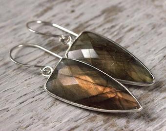 Labradorite Earrings, Simple Copper Gemstone Earrings, Labradorite Silver Earrings, Copper Dangle Earrings, Shield Maiden Drop Earrings