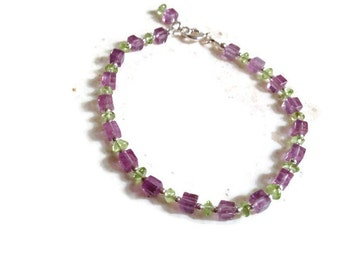 Amethyst & Peridot Bracelet - Green and Purple - Sterling Silver Jewelry - Gemstone Jewellery - Beaded