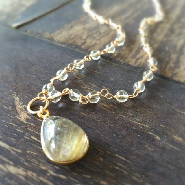 Gold necklace gold rutilated quartz jewelry pendant for Golden rutilated quartz jewelry