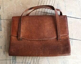 1940s Snakeskin Handbag in Tan Brown. Just Beautiful
