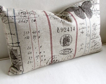 French Lumbar Pillow 12x20 decorative throw toss accent french script fabric insert included
