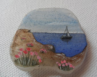 Summer sail boat- Original miniature painting on English sea glass