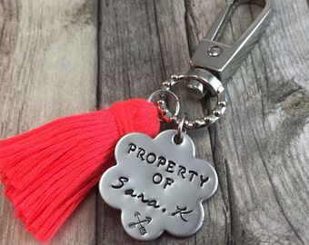 Back to school zipper pull with tassel personalized, 6 petal flower