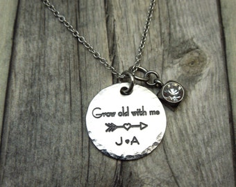 Grow old with me, personalized engraved stainless steel necklace, initials,