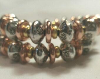 Bracelet, Goldtone, Silvertone and Coppertone Metal, Tri Colored Metal Bracelet, Tri Colored Jewelry by Cindydidit, Memory Bracelet