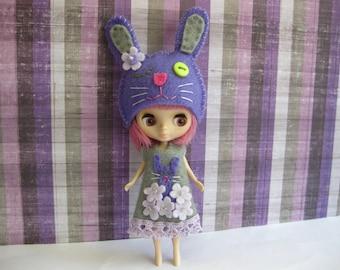 Flower Bunny Set (Purple & Grey)