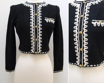 Vintage 1970s Adolfo Black Crop Jacket with White Ribbon Trim
