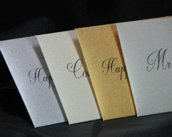 Customizable 2x3.5 Elegant Gold Silver Champagne and Pearl Gift Card Envelopes