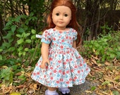 1950s Dress in Floral and Light Blue for Maryellen or18 inch Doll