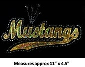 Mustangs GOLD Sequins and Rhinestone Transfer Applique ONLY