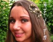 STEAMPUNK HAIR FLOWERS 2 x antique brass Gothic hair jewelry Boho hair accessory Goth Fantasy Wedding bride hair Bridesmaids hair jewelry