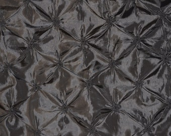 """Taffeta Belly button Black Embroidered per YARD Wedding clothing 52/54"""" wide"""
