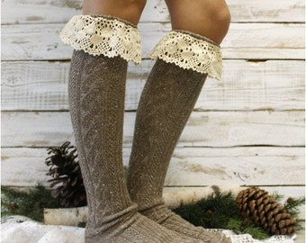 Mountain lace boot sock in BROWN Tweed knit,  Boot socks tall boot socks leg warmers,  knee socks womens lace socks  | BKS6