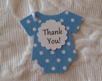 Set of 12 Blue and White Polka Dot Onesie Thank You and It's A Boy Tags -  Baby Shower, Favor Gift Tags