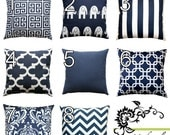 SALE Nautical Pillows- Premier Prints Navy Blue Pillow Cover- All Sizes- Zippered Pillow- You Choose- Cushion Cover- Beach Decor Accent