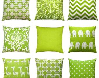 Green Euro Sham, Chartreuse European Sham Pillow Cover, 26x26 Large Zippered Pillow, Green Cushion Cover, Decorative Throw Pillow Cases