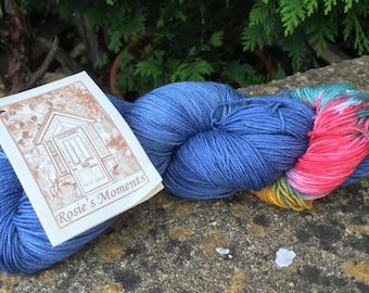 "100grms hand painted merino/nylon yarn "" splashes of colour"""