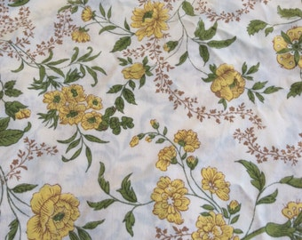Shabby Chic Yellow Floral Flat Twin Sheet -  Fabric - Cottage Decor -Guest Room-  Girls Room - Green Brown - Boho - Farmhouse