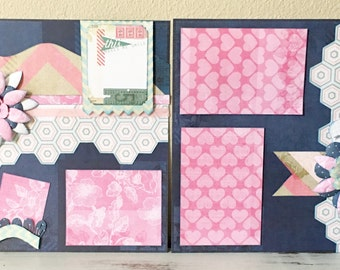 Premade scrapbook pages/ layout, 12X12 inch size for your scrapbook album, just add photos, or I can add them for you! Heidi Swapp paper