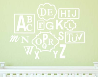 Wooden Alphabet Set with Frames, Painted White, Finished and Ready to Hang! Cute!