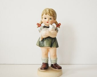 Little Girl Figurine, Ceramic Girl Holding Cat Hummel Style Figurine