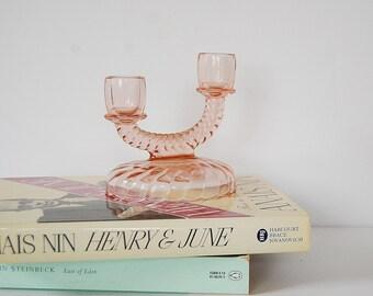 Pink Glass Candelabra, Vintage Pale Pink Depression Glass Candle Holder