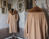 Vintage 1950's 60's Tan Wool Winter Swing Coat with Detachable Mink Collar XL