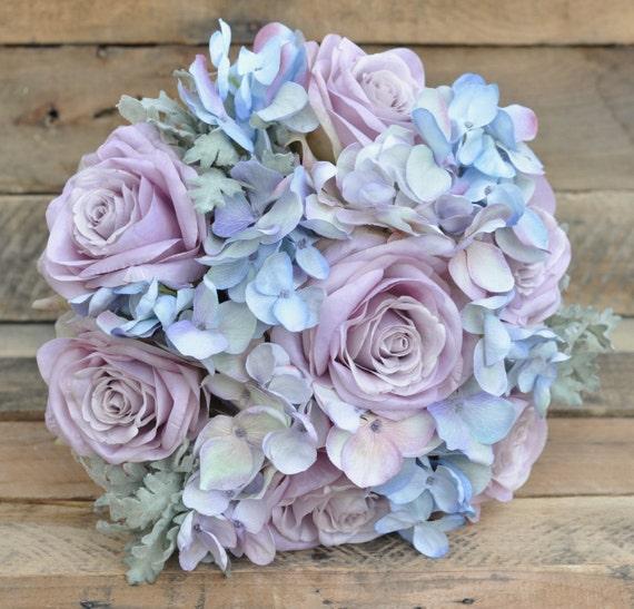 Dusty Blue Wedding Bouquets : Wedding bouquet silk bridal made with