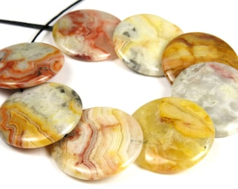 Mexican Crazy Lace Agate Overlapped Disc Round Bead - 20mm x 3.5mm - 8 beads - B4852