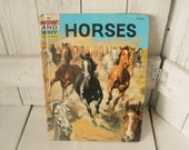 """Vintage book """"Horses How and Why"""" childrens Wonder retro color illustrations 1961/ free shipping US"""