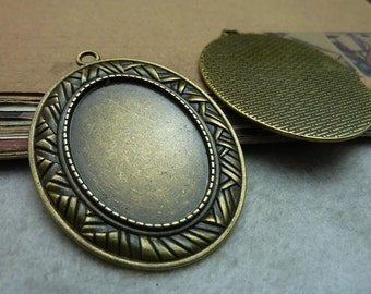 10 pcs 25x35mm Antique Bronze  Cameo Cabochon Base Setting Tray Blanks Pendants Charm Pendant C7530